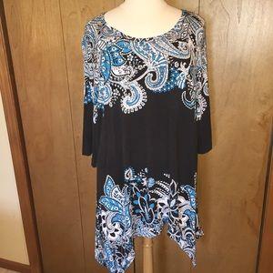 Sz 26/38 Avenue tunic dress in black, blue/white